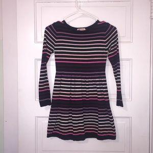 Striped dark navy purple pink white sweater dress